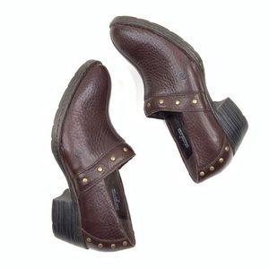 Born Shoes Mules Clogs Leather Stud Slip-On Size 7